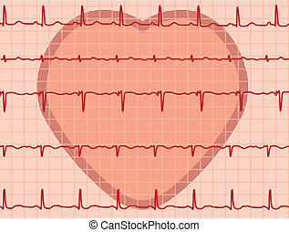 heart and heartbeat electrocardiogram