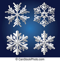 origami snowflakes - vector origami snowflakes