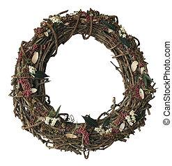 autumn wreath - decorative autumn wreath isolated on white,...