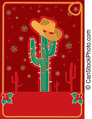 Cowboy red christmas card for text