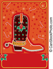 Cowboy red christmas card for text - Cowboy red christmas...