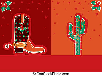 Cowboy christmas card with boot and cactus - Cowboy red...