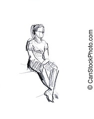 girl squatting on criminal - sketch of a girl squatting on...