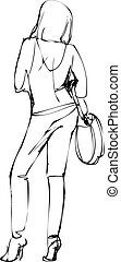 girl in pants with a bag on his shoulder - sketch of a girl...