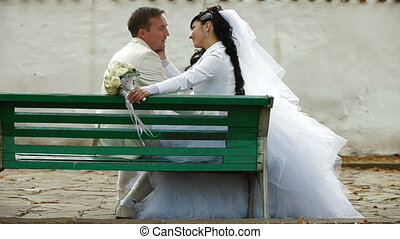 just married couple sitting