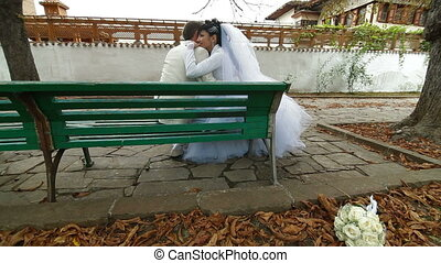Wedding Couple Dressed in White
