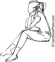 sketch of a girl who thought sitting