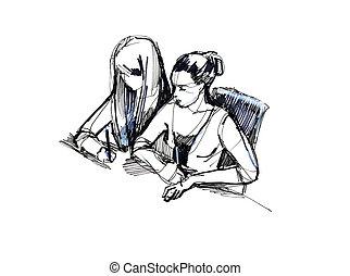 two girls in the classroom at a desk