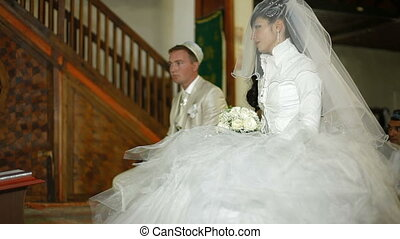 Islamic wedding ceremony Nikah - Crimean Tatar young couple...