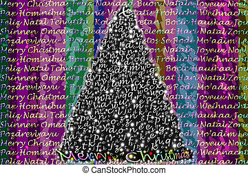 colorful Christmas greeting in many languages - colorful...