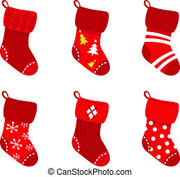 Red retro Christmas Socks collection isolate on white - Cute...