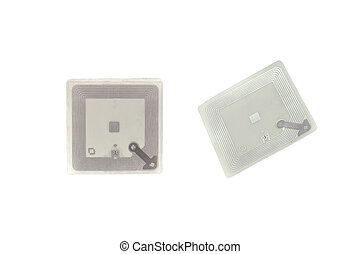 RFID tags  in hand  on a white background