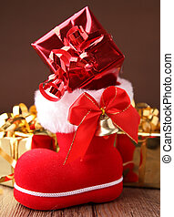 christmas boot with present