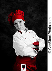 Chef - portrait photo of young female chef in front of rural...