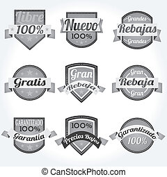 Set spanish vector Labels retro
