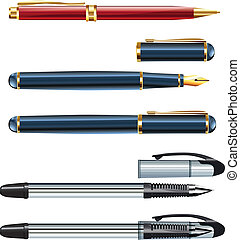 set of realistic pens eps10