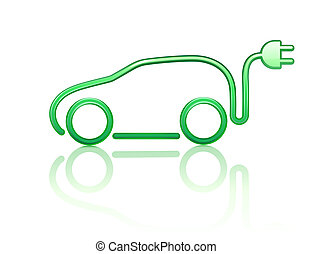 electric powered car symbol - illustration of electric...