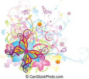 Estratto, farfalla, floreale, fondo