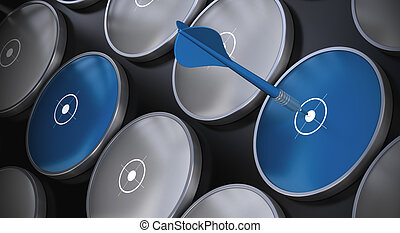 Grey and blue targets onto a black background There is a...