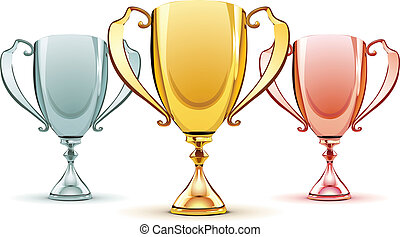 three trophies - Vector illustration of three trophies -...