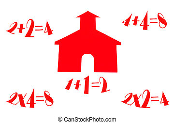 School House With Math - Little red school house with...