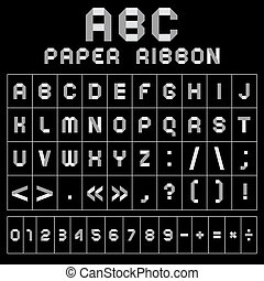 ABC font from paper tape, gray with