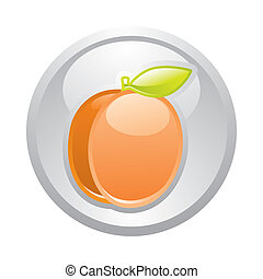 Gray button Apricot, vector