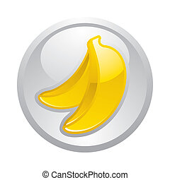 Gray button Banana, vector