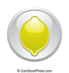 Gray button Lemon, vector