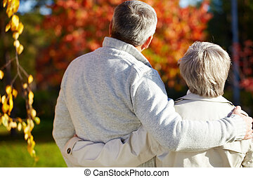 Couple at walk - Rear view of aged man and woman in autumnal...