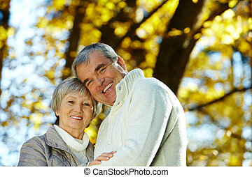 Man and woman - Photo of amorous aged man and woman looking...