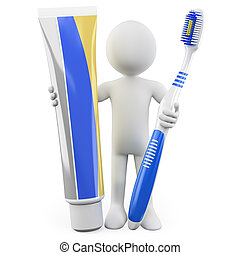 Man with toothbrush and toothpaste - Dentist with a...