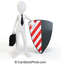 3d man businessman with shield on white background