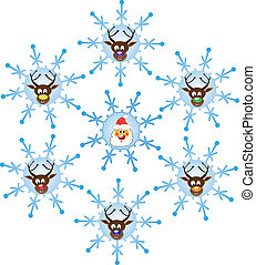 Christmas time with Santa and reindeers. Illustration