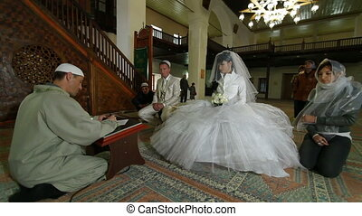 Mullah at Wedding Ceremony Nikah - Imam (islamic priest)...