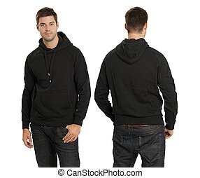 Male wearing blank black hoodie - Young male with blank...