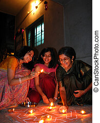 Traditional Diwali Women - Indian women from a hindu family...