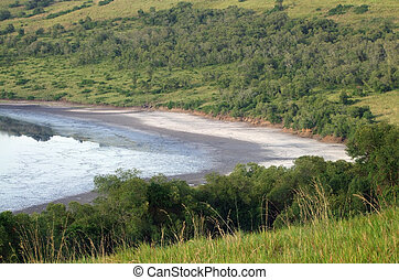 waterside scenery in the Queen Elizabeth National Park -...