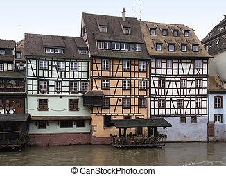 canal scenery in Strasbourg - waterside canal scenery in...