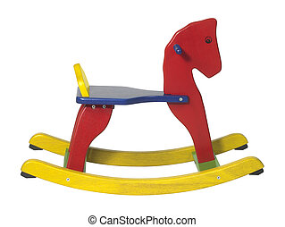 rocking horse sideways - studio photography of a colorful...