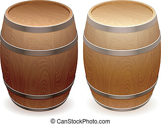 Wooden barrels.
