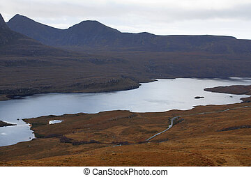 dramatic landscape near Stac Pollaidh - deserted panoramic...