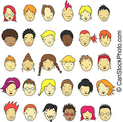 Cartoon faces - Collection of 30 cartoon faces for avatar