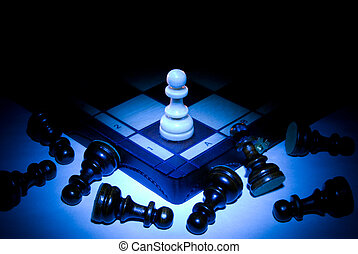 The strong player - Chess board and pawns. A dark blue art...