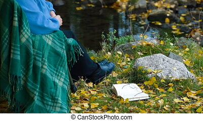 Autumn - Senior Woman with Book in Autumn Park,...