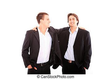 two business men discuss. - Two business men discuss....