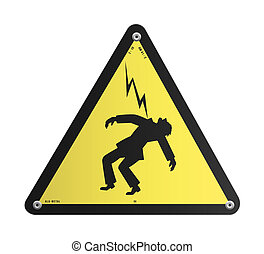 Danger High Voltage panel - Yellow danger High Voltage...