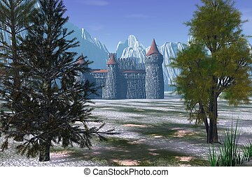 Winter Castle - Fantasy castle in a snowy winter landscape,...