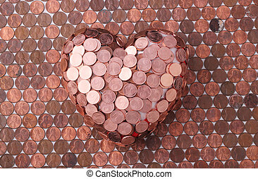 heart - A red heart with 1 Euro cent coins on one-cent coins