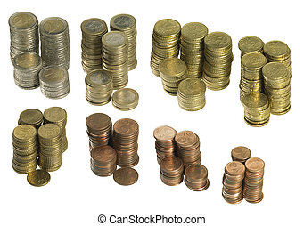 stacked euro coins - stacks with all sorts of euro coins